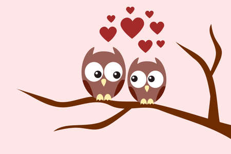 summer love: Owls couple in love sitting on a tree branch