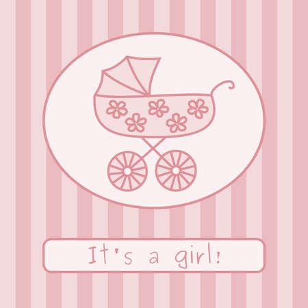 baby stroller: Baby girl arrival announcement card. Vector illustration.