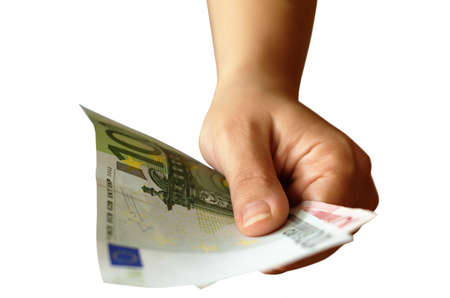 Hand offering money  Euro banknotes  photo