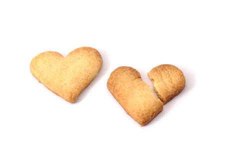 Two sweet biscuits in shape of hearts  isolated  photo
