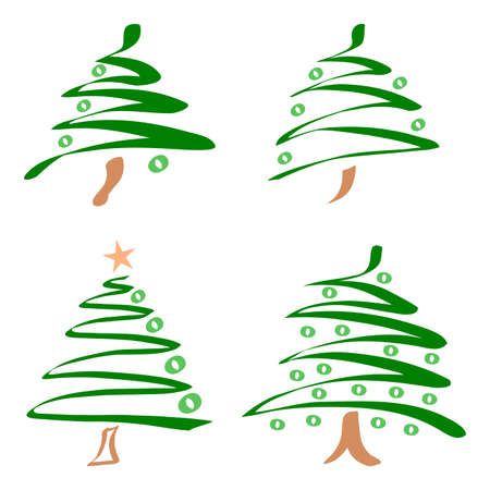 christmas tree set: Set of abstract christmas trees
