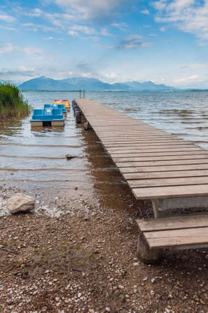 Lake Chiemsee with Alps in summer. Bavaria, Germany. photo