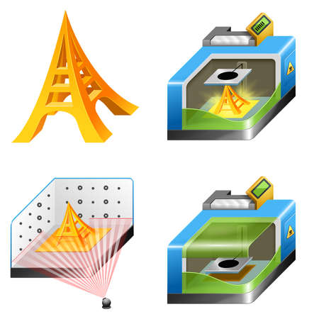 scanned: 3d printing and 3d scanning icon set. These icons are isolated on a white background. Stock Photo