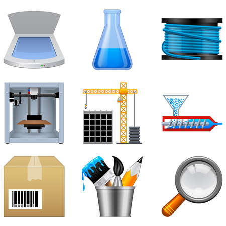 additive manufacturing: Additive manufacturing icons isolated on a white background. This icon set is useful for 3d printer applications. Stock Photo