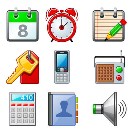 Icon set for popular mobile apps and phone functions. These icons are isolated on a white background.