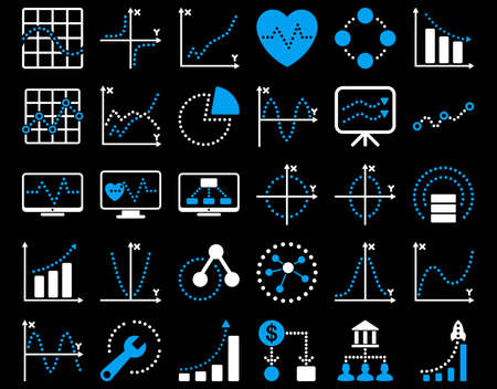 shortcuts: Dotted Charts Icons. These flat bicolor icons use blue and white colors. Vector images are isolated on a black background.