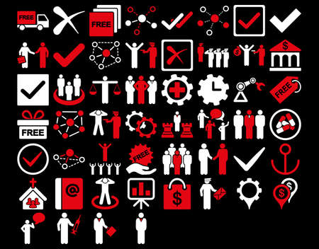 drug dealer: Business Icon Set. These flat bicolor icons use red and white colors. Vector images are isolated on a black background. Illustration