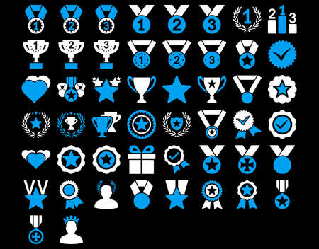 valid: Competition and Awards Icons. These flat bicolor icons use blue and white colors. Vector images are isolated on a black background.