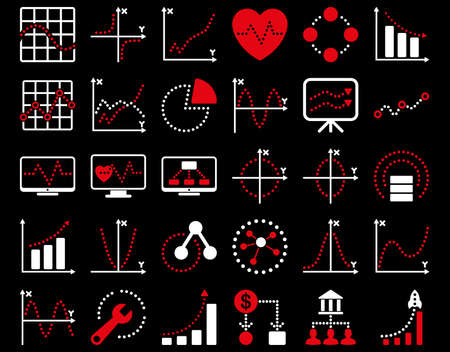 shortcuts: Dotted Charts Icons. These flat bicolor icons use red and white colors. Vector images are isolated on a black background.