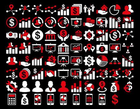 Business Icon Set. Queste icone bicolor piatti utilizzano i colori rosso e bianco. Le immagini vettoriali sono isolati su uno sfondo nero. Archivio Fotografico - 42217480