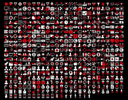 toolbar: Application Toolbar Icons. 576 flat bicolor icons use red and white colors. Vector images are isolated on a black background. Illustration