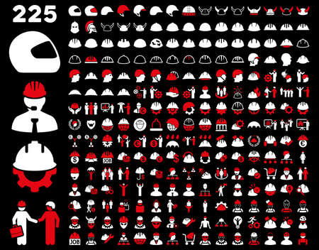 hard rain: Work Safety and Helmet Icon Set. These flat bicolor icons use red and white colors. Vector images are isolated on a black background.