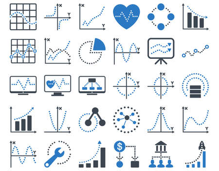 shortcuts: Dotted Charts Icons. These flat bicolor icons use smooth blue colors. Vector images are isolated on a white background.