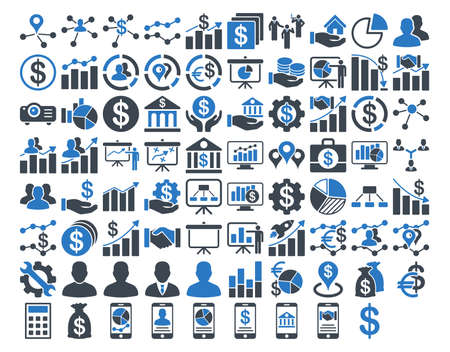 Conjunto de iconos de negocios. Estos iconos bicolores planos usan colores azules suaves. Las imágenes vectoriales están aisladas sobre un fondo blanco.