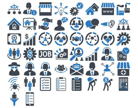 Biznes Icon Set. Te płaskie ikony bicolor użyć gładkie niebieskie kolory. Obrazy wektorowe są izolowane na białym tle.
