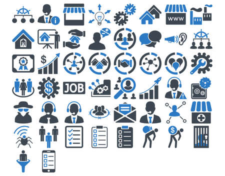 Business Icon Set. Ces icônes bicolor plats utilisent des couleurs bleues lisses. Les images vectorielles sont isolés sur un fond blanc.