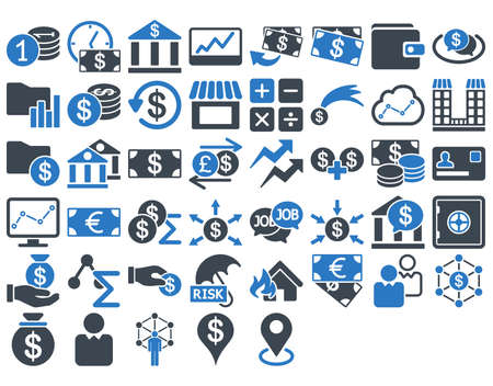 Business Icon Set. These flat bicolor icons use smooth blue colors. Vector images are isolated on a white background. Vettoriali