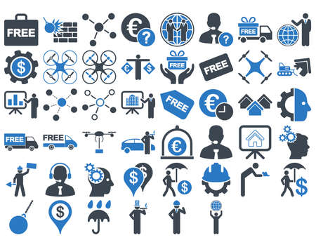 capitalist: Business Icon Set. These flat bicolor icons use smooth blue colors. Vector images are isolated on a white background. Illustration