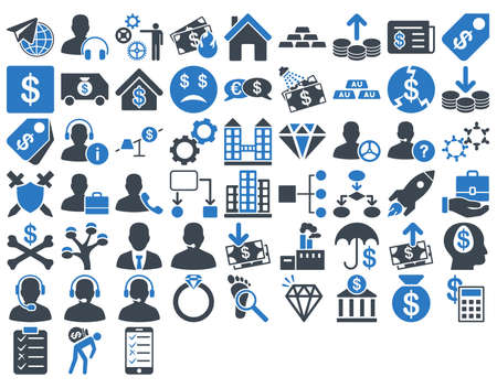 industry background: Commerce Icon Set. These flat bicolor icons use smooth blue colors. Vector images are isolated on a white background. Illustration