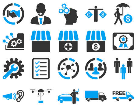 gear box: Business, trade, shipment icons. These flat bicolor symbols use modern corporate light blue and gray colors. Images are isolated on a white background. Angles are rounded. Illustration
