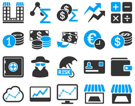 cia: Accounting service and trade business icon set. These flat bicolor symbols use modern corporate light blue and gray colors. Vector images are isolated on a white background. Angles are rounded. Illustration