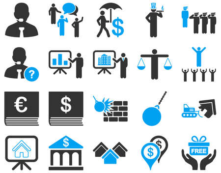 hotel lobby: Bank service and people occupation icon set. These flat bicolor symbols use modern corporate light blue and gray colors. Vector images are isolated on a white background. Angles are rounded.