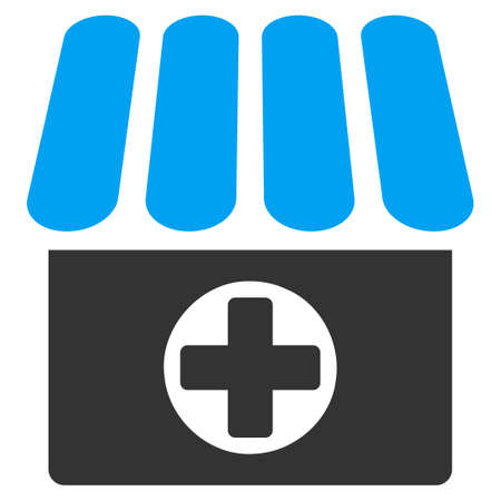 polyclinic: Drugstore icon from Business Bicolor Set. Vector style is bicolor flat symbol, blue and gray colors, rounded angles, white background.