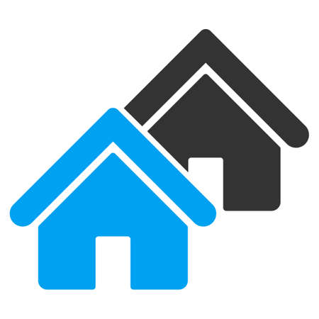 domestic garage: Realty icon from Business Bicolor Set. Vector style is bicolor flat symbol, blue and gray colors, rounded angles, white background.