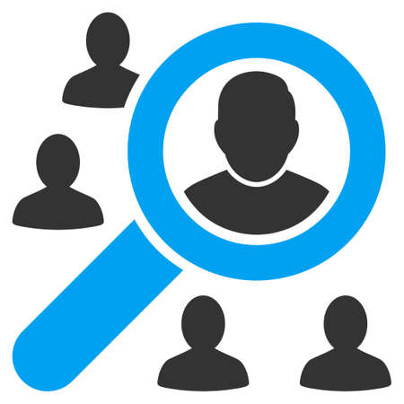 find staff: Marketing icon from Business Bicolor Set. Vector style is bicolor flat symbol, blue and gray colors, rounded angles, white background.