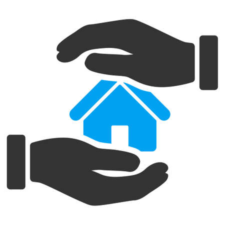 housing project: Realty insurance icon from Business Bicolor Set. Vector style is bicolor flat symbol, blue and gray colors, rounded angles, white background.