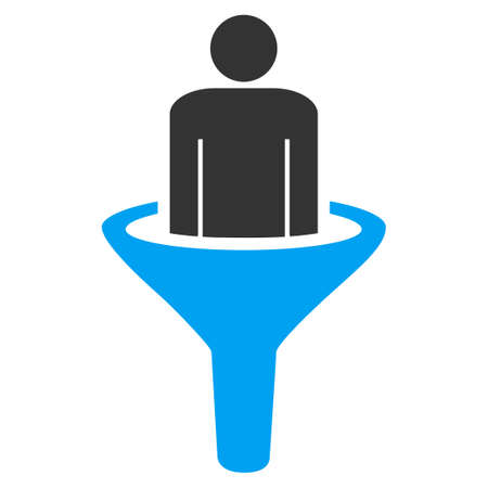squeezed: Sales funnel icon from Business Bicolor Set. Vector style is bicolor flat symbol, blue and gray colors, rounded angles, white background.