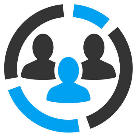 Demography diagram icon from Business Bicolor Set. Vector style is bicolor flat symbol, blue and gray colors, rounded angles, white background.