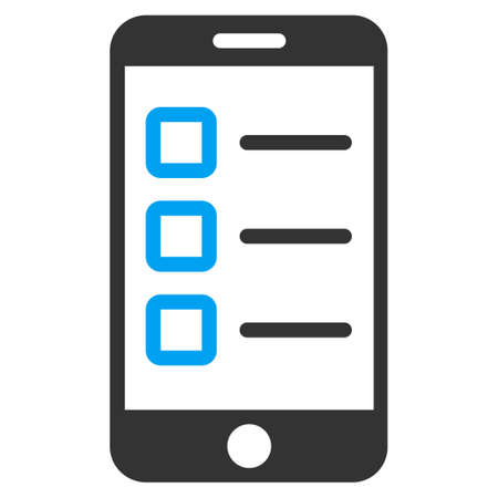 Mobile test icon from Business Bicolor Set. Vector style is bicolor flat symbol, blue and gray colors, rounded angles, white background.