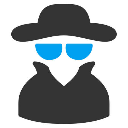 fbi: Spy icon from Business Bicolor Set. Vector style is bicolor flat symbol, blue and gray colors, rounded angles, white background. Illustration