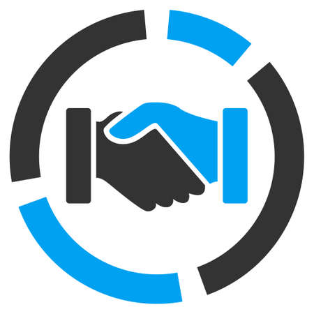 Acquisition diagram icon from Business Bicolor Set. Vector style is bicolor flat symbol, blue and gray colors, rounded angles, white background.