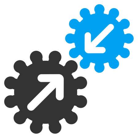 Icono de Integración de Business Bicolor Set. Estilo Glifo es símbolo plana bicolor, colores azul y gris, ángulos redondeados, fondo blanco.