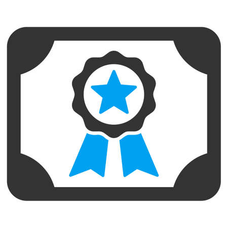 attest: Certificate icon from Business Bicolor Set. Glyph style is bicolor flat symbol, blue and gray colors, rounded angles, white background.