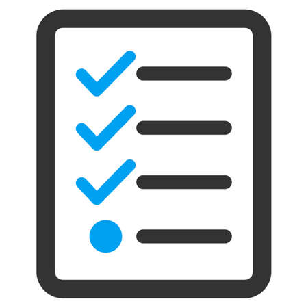 Checklist icon from Business Bicolor Set. Glyph style is bicolor flat symbol, blue and gray colors, rounded angles, white background. Standard-Bild