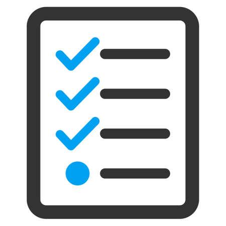 ref: icono de lista de control de Negocios Set Bicolor. estilo glifo es símbolo plana bicolor, colores azul y gris, ángulos redondeados, fondo blanco. Foto de archivo