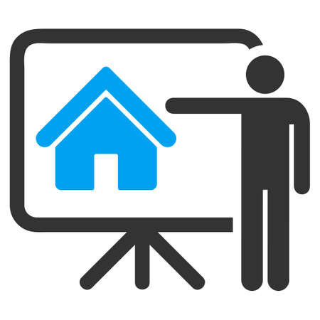 realtor: Realtor icon from Business Bicolor Set. Glyph style is bicolor flat symbol, blue and gray colors, rounded angles, white background.