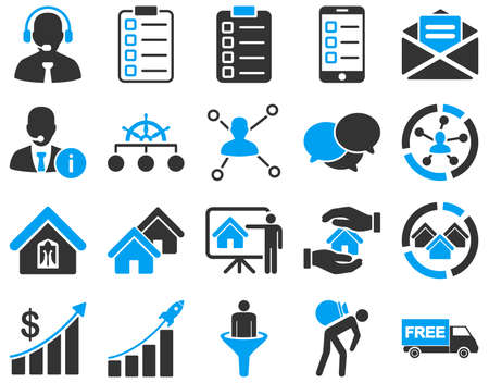 home clipart: Business, sales, real estate icon set. These flat bicolor symbols use modern corporate light blue and gray colors. Images are isolated on a white background. Angles are rounded. Stock Photo