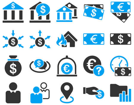 money exchange: Bank service and trade business icon set. These flat bicolor symbols use modern corporate light blue and gray colors. Glyph images are isolated on a white background. Angles are rounded.