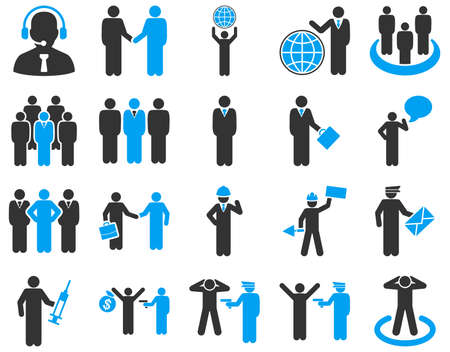 business globe: Management and people occupation icon set. These flat bicolor symbols use modern corporate light blue and gray colors. Glyph images are isolated on a white background. Angles are rounded. Stock Photo