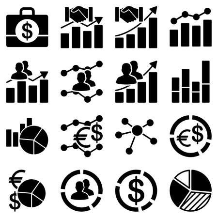 informe: Cartas de asunto e informes iconos. Estos símbolos planas utilizan el color negro. Las imágenes vectoriales son aislados en un fondo blanco. Vectores