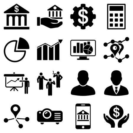 Banca símbolos de negocios y presentación. Estos símbolos planas utilizan el color negro. Las imágenes vectoriales son aislados en un fondo blanco.