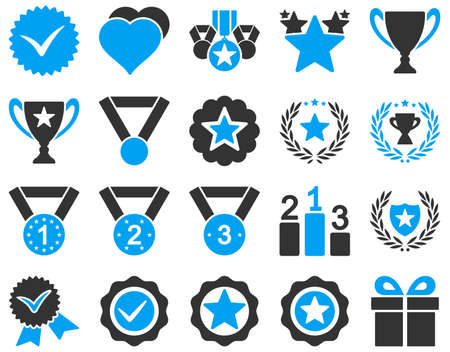 Competition and Success Bicolor Icons. This icon set uses blue and gray colors, rounded angles, white background.