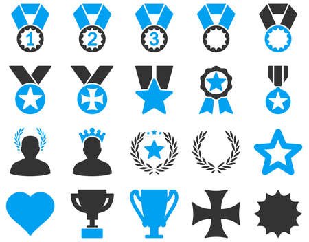 favorite number: Competition and Success Bicolor Icons. This icon set uses blue and gray colors, rounded angles, white background.