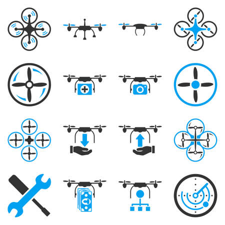 glyphs: Flying drone flat bicolor icons. These pictograms use blue and gray colors. These bicolor glyphs are isolated on a white background.