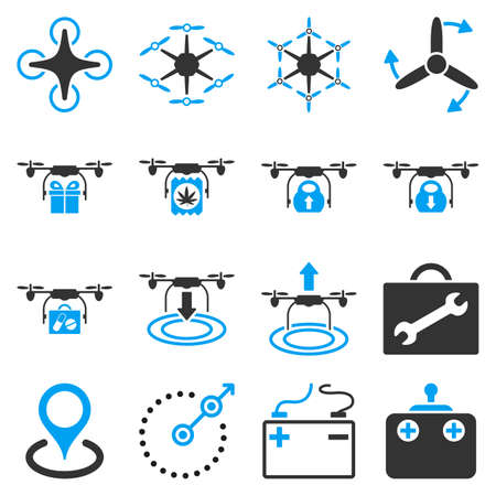 take charge: Air copter flat icon set designed with blue and gray colors. These flat bicolor pictograms are isolated on a white background. Illustration