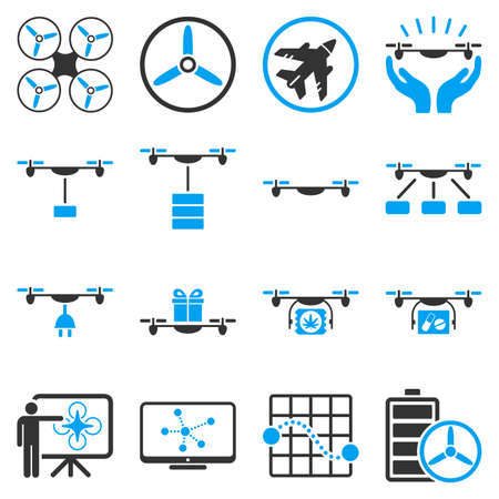 usaf: Drone shipment icon set designed with blue and gray colors. These flat bicolor pictograms are isolated on a white background.